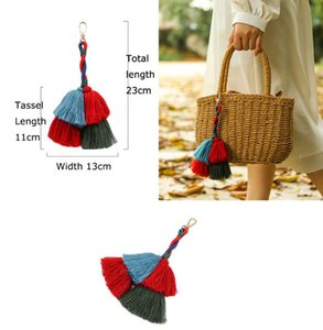 1pc Red Blue Green Cotton Tassels Key Chain Bag Hanging Pendant Charms Car Key Ring Jewelry Gift For Women Handbag