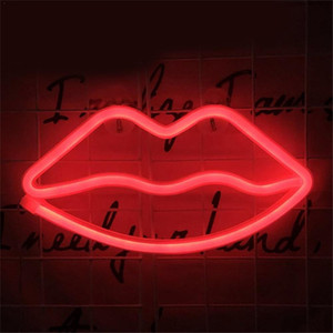 Wholesale neon decorative lighting resale online - Decorative light neon lip sign LED night lights bedroom decoration birthday wedding party house wall decor valentines day gift