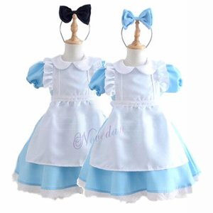 Wholesale Halloween Kids Girls Anime Alice In Wonderland Blue Party Dress Alice Dream Child Sissy Maid Lolita Cosplay CostumeMX190921