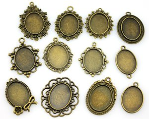 Wholesale 300Gram Oval x25mm Inner Size Mix Designs Antique Silver Antique Bronze Zinc Alloy Cameo Cabochon Base Setting