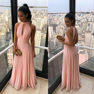 Wholesale pleated chiffon halter evening dress for sale - Group buy 2019 Pink Beach Boho Chiffon Bridesmaid Dresses A Line Halter Neck Pleats Flowy Chiffon Long Maid of Honor Plus Size Evening Gowns BC1239