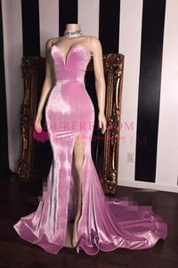 Wholesale 2020 Modest Pink Velvet Sweetheart Neckline Prom Dresses Mermaid Sexy Side Split Formal Evening Occasion Party Dresses Custom Made