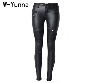 Wholesale W yunna New Fashion Imitation Denim Slim Leggings For Women Black Motorcycle Streetwear Pants Folds Zippers Pu Leather Pants Q190416