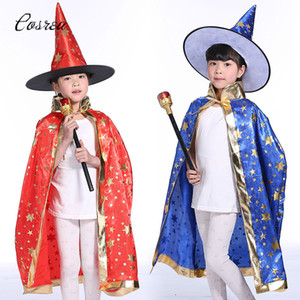 Wholesale Dark Magician Costume Cloak Manteau Topcoat Cosplay Costumes Pentagram Capes Robes Hat Cap Beanies Cloak for Kids Holiday