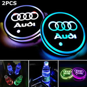2PCS LED Cup Holder Mat Pad Coaster with USB Rechargeable Interior Decoration Light for Audi BMW AMG Tesla JEEP CHEVROLET Ford Accessory