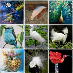 Wholesale TAFREE Birds Art Pattern Square Shape DIY mm Glass Cabochon Dome Flat Back Making Jewelry Findings For Bracelets Keychains
