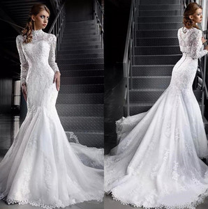 Wholesale jacket long train wedding dress resale online - Vintage Mermaid Wedding Dresses with Lace Long Sleeves Jacket High Neck Tulle Applique Court Train Bridal Gowns Mariage Noiva Vestido