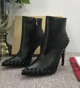 2019 Luxury Black red Leather with Spikes Pointed Toes Womens Ankle Boots Fashion Designer Sexy Ladies Red Bottom High Heels Shoes Pumps