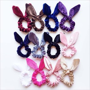 Wholesale Velvet Hair Scrunchies Girls Women velvet Bunny Ear Knot Bow Hair Bands Rabbit Ear Hair tie Ponytail Holder Velvet bow Scrunchy
