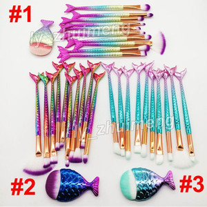 Rainbow Makeup Brushes kit Mermaid brush 11pcs Set Face and Eyeshadow Powder Foundation brushes Eyebrow Eyeliner brush Makeup Tools free DHL