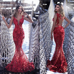 Sexy Illusion Red Mermaid Evening Dresses Long Tony Chaaya 2019 Lace Appliqued Sheer V Neck Formal Prom Party Gowns See Through Dress on Sale