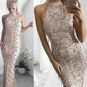 88173dc609a2 Wholesale 2019 Sequins Tassel Party Dresses Gold Halter Sexy Sleeveless  Ankle-Length Prom Dresses Evening