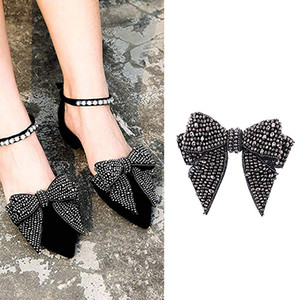 DIY Handmade Rhinestone Bowknot Shoe Buckle Flower Charms Accessories Flats High Heels Pumps Holder Shoe Decor Party Jewelry for Women