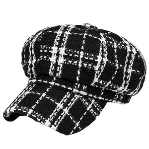 Wholesale Retro British Style Plaid Autumn Winter Woolen Warm Women Peaked Cap Berets Hat