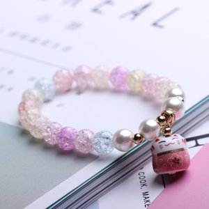 Wholesale 201908 Hot Fashion Men And Women Creative Lucky Cat Beaded Bracelets Crystal Charm Bangle Handmade Charm Jewelry Gift Multicolor M492A