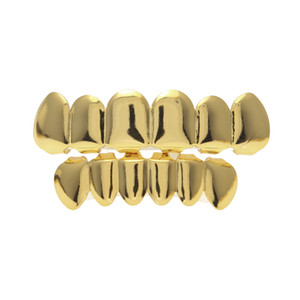 Real gold plating teeth grillz glaze gold grillz teeth hip hop bling jewelry men body piercing jewelry 150001