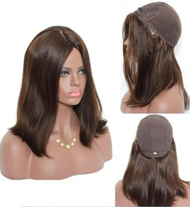 Wholesale Kosher Wigs 12A Grade Light Brown Color #4 Finest Malaysian Virgin Human Hair Straight 4x4 Silk Base Jewish Wig Fast Free Shipping