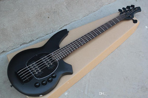Factory Custom 5 strings Matte Black 24 Frets Electric Bass Guitar with Black hardware,Active Circuit,Rosewood fingerboard,offer customize