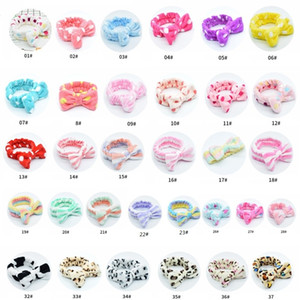 Fleece Bow Headbands For Women Girls Wash Face Makeup Bath Solid Striped Polka Dots Hairband Turban Hair Accessories