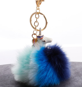 Wholesale HYS266 colors Unicorn Fur Ball Key Chain New Colorful Fur Ball Alloy Pony Bag Plush Pendant Plush Doll Bag Pendant DHL