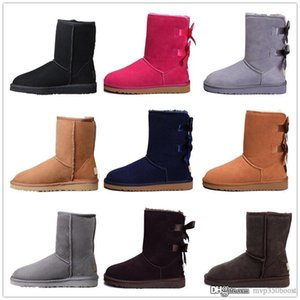 Wholesale 2019 Bow knot WGG Womens Australia Classic tall half Boots Bow Women girl boots Boot Snow Winter black blue ankle boots leather shoes