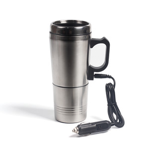Portable Silver Stainless Steel Car Water Heating Coffee For Thermos Type Hot Drink Water Heater 12V Mini Car Electric Kettles