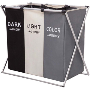 Dirty Clothes Laundry Storage Basket 2 3 Grid Foldable Oxford Cloth Organizer Basket Home High Capacity Laundry Bags Bathroom Laundry Hamper on Sale