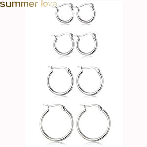 Wholesale Hot Cheap Stainless Steel Hoop Earrings mm mm Exaggerated large Round Buckle Hoop Earring for Women Jewelry Accessories Gift