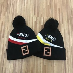 Newest 100 design choices embroidery F Autumn winter Black white beanies hat unisex warm knitted warm skull cap brand beanies for women man