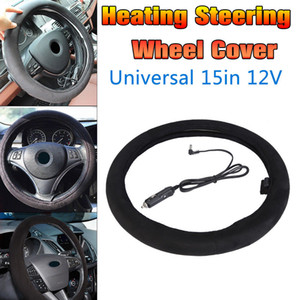 Onever 12V 38cm Car Lighter Plug Heated Heating Electric Steering Wheel Covers Warmer Winter Steering Covers Universal
