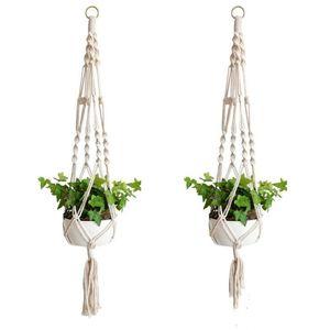 Plant Hangers Macrame Rope Pots Holder Rope Wall Hanging Planter Hanging Basket Plant Holders Indoor Flowerpot Basket Lifting LXL1039-1