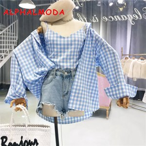 Wholesale ALPHALMODA Summer New Long sleeved Shirt Lattice Sling Vest Women Casual Summer Sunscreen Clothes Sets