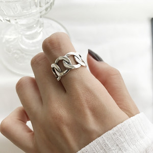 Wholesale Louleur Sterling Silver Wide Chain Rings Silver Vintage Wild Square Strip Chain Open Rings For Women New Fine Jewelry Gift J