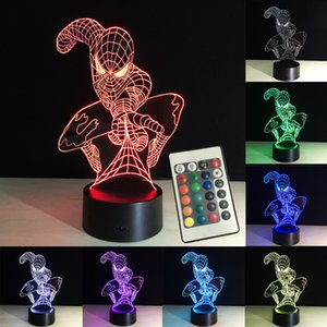 3D Lights Night Spiderman LED Table Lamp RGB Remote Control 7 Colors Changing New Year Decoration Baby Sleeping Creative Lamp