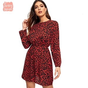 Wholesale Dress Print Leopard Keyhole Back Casual Women Clothing Spring Korean Long Sleeve Mini Office Elegant Dress