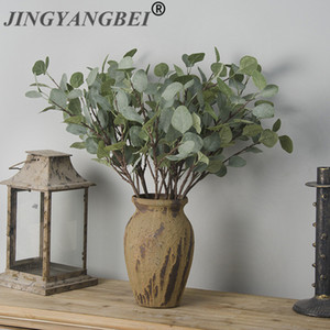 Wholesale Artificial Plastic plant Eucalyptus leaves Branch Money grass home decorative fake flowers Indoor potted decoration