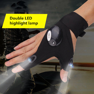 Wholesale Black One Size Car Repair Work Outdoor Fishing Survival Tools Creative Hiking LED Light Finger Lighting Gloves