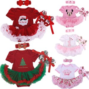 Wholesale Christmas Baby Girl Infant 3pcs Clothing Sets Suit Princess Tutu Romper Dress jumpsuit Xmas Bebe Party Birthday Costumes Vestido Y19050801