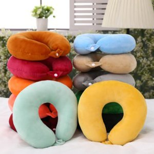 Solid Color U-neck Comfort Sleeping Nap Pillow Car Headrest Stuffed Soft Plush Toys Creative Gifts Plush Toys