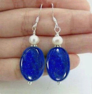 Wholesale Natural Egyptian Lapis Lazuli Gemstones White pearl Silver Hook Dangle earrings