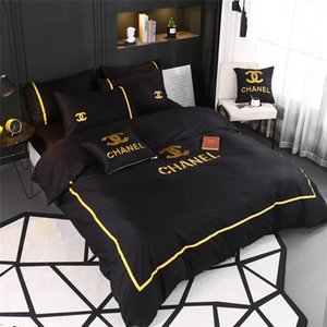 Wholesale 4 Color New Black Bedding Sets With Gold Thread Embroidery Bed Cover Suit Boutique All Cotton Summer Spring Bedding Suit