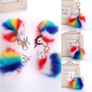 Wholesale Free DHL Hot Sale Fluffy Unicorn Pony Keychain Pendant Cute Pompom Cute Rabbit Fur Ball Keychain Handbag Bag Pendant Car Keychain B765S Y