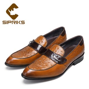 Wholesale Sipriks Genuine Leather Light Brown Slip On Dress Shoes Pointed Toe Smoking Slippers Grooms Wedding Party Work Evening Shoes New