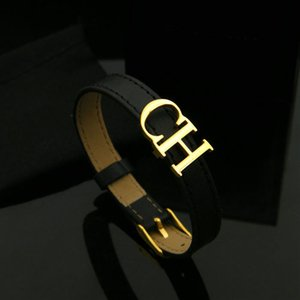 Wholesale Bilincolor Black Leather Belt With Golden Ch Letter Bracelet For Female Womens Jewellery MX190727