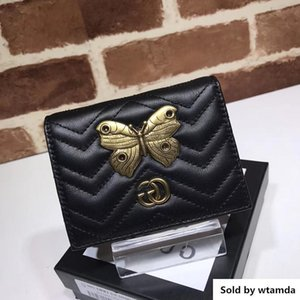Wholesale Top Luxury Celebrity Design Letter Metal Buckle V shaped Wallet Butterfly Insect Card Back Cowhide Leather Purse Clutch