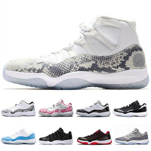 New 11 Low Navy Blue Pink Light Bone Snakeskin Basketball Shoes Men Women 11s Prem HC High 45 Snakeskin Sports Sneakers With Box
