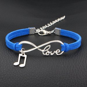 Wholesale 2019 New Style Vintage Bohemian Infinity Love Music Pendant Charm Bracelets Dark Blue Leather Suede Rope Pulseras Jewelry for Women Men Gift