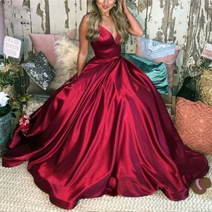 Wine Red Prom Dresses with Pockets Long Evening Gown Spaghetti Straps Satin Lace Up Back Prom Dress for women Custom Made on Sale