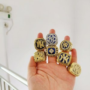 Wholesale 7pcs set1977 New York Yankee s World Championship Ring Championship Ring With Wooden Display Box Fan Gift