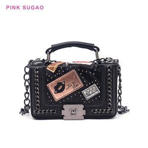 Wholesale Pink sugao designer shoulder bag crossbody bags women purse bags wild envelope small square bag pu leather lady shopping bag high quality